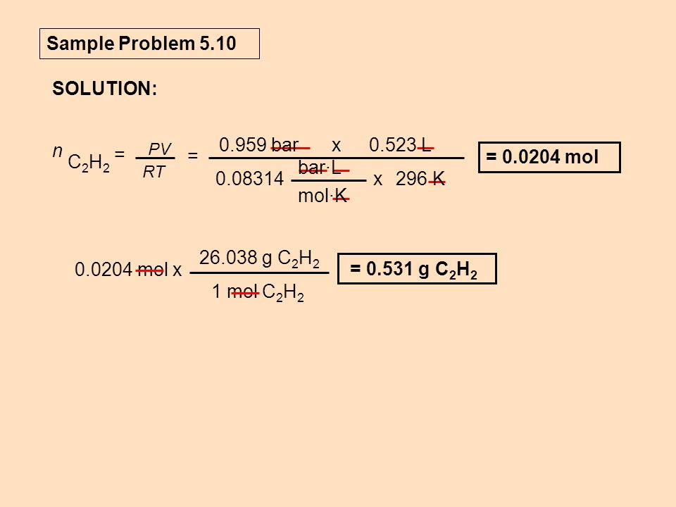Sample Problem 5.10 SOLUTION: 0.959 bar 0.523 L x bar·L mol·K 0.08314