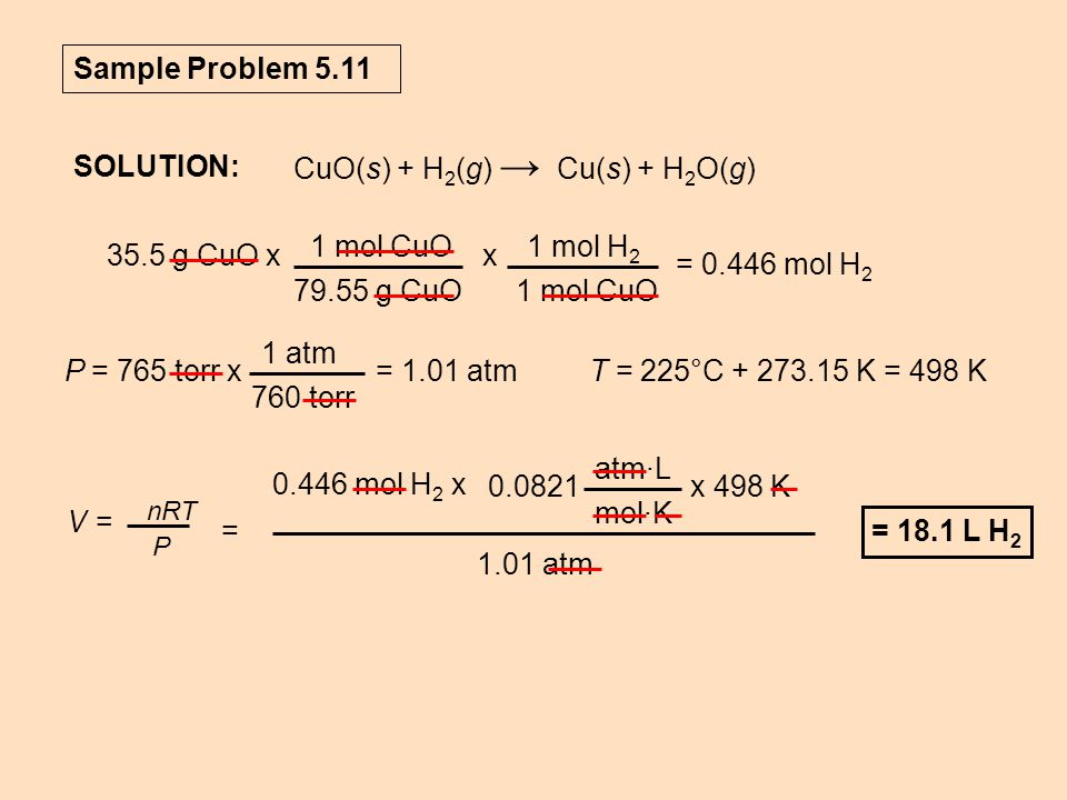 CuO(s) + H2(g) → Cu(s) + H2O(g) SOLUTION: