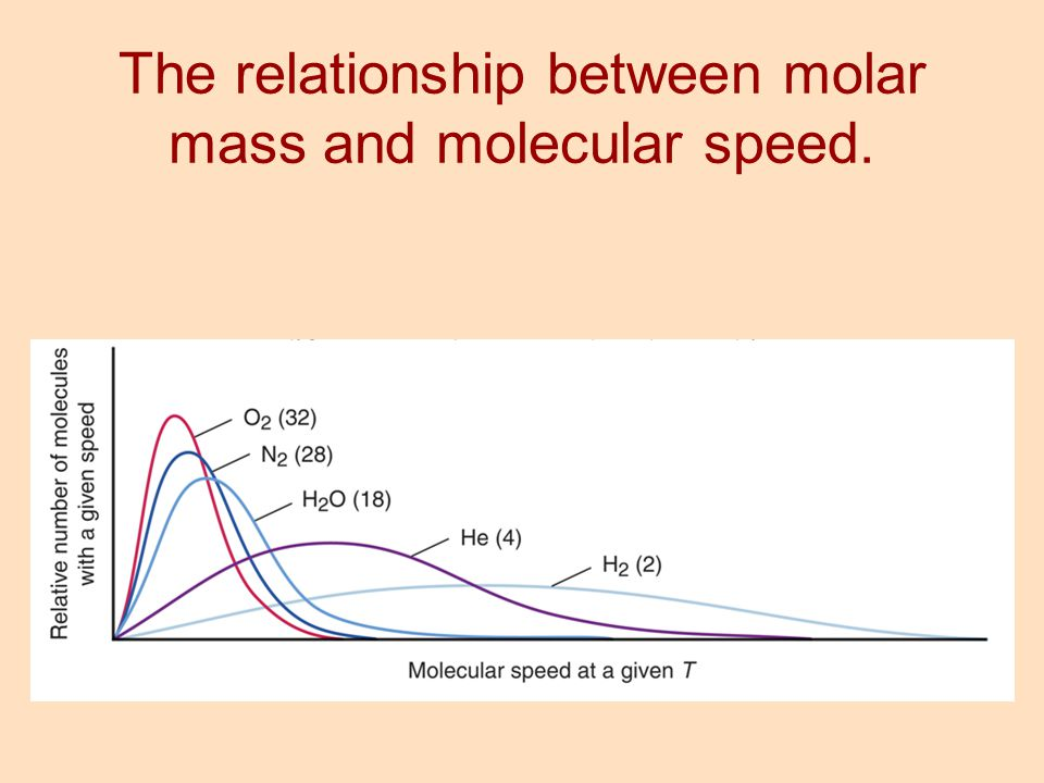 The relationship between molar mass and molecular speed.