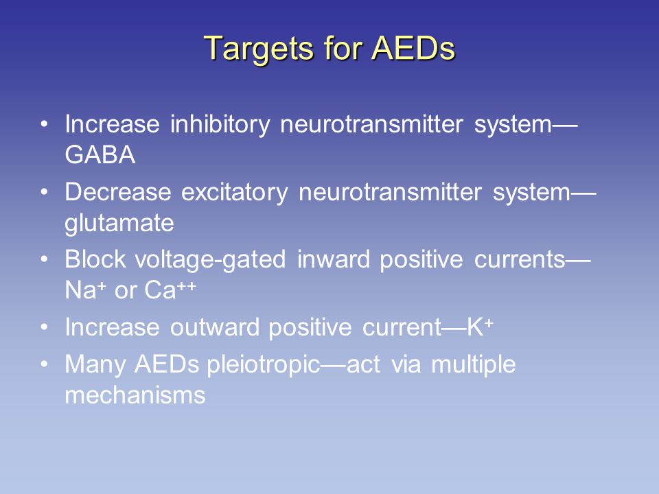 Targets for AEDs Increase inhibitory neurotransmitter system—GABA