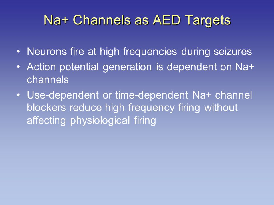Na+ Channels as AED Targets