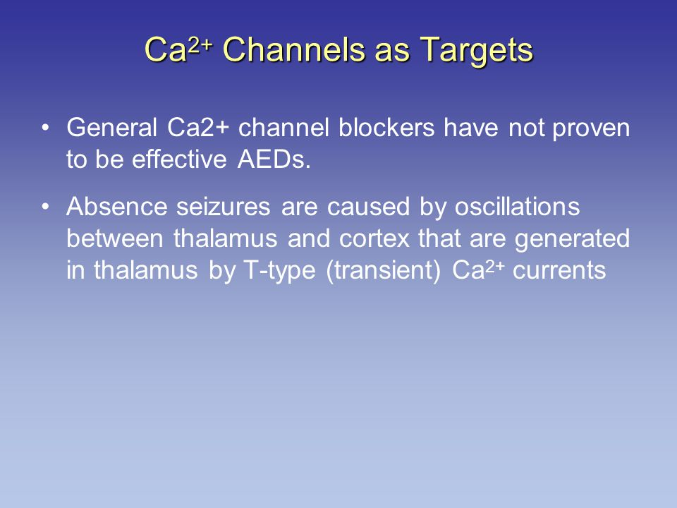 Ca2+ Channels as Targets