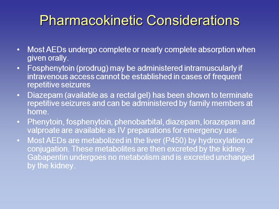 Pharmacokinetic Considerations