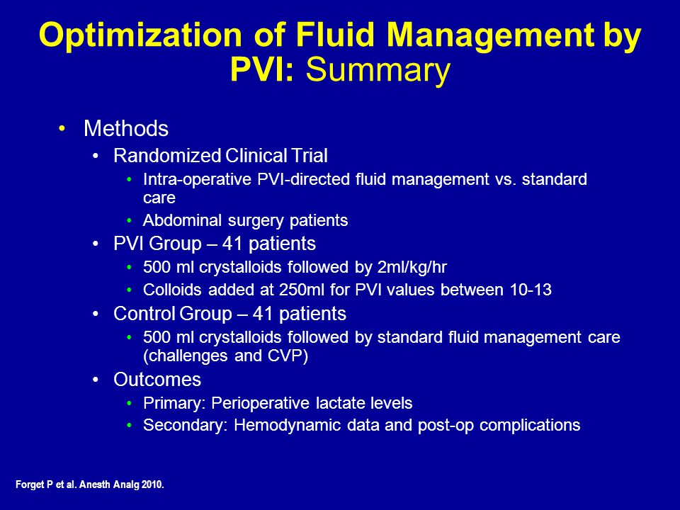 Optimization of Fluid Management by PVI: Summary