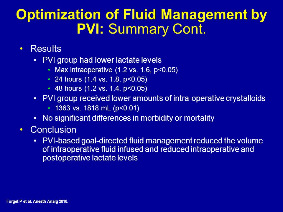 Optimization of Fluid Management by PVI: Summary Cont.