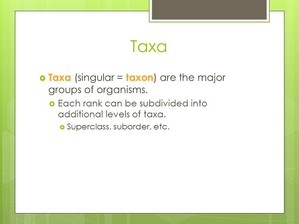 Taxa Taxa (singular = taxon) are the major groups of organisms.