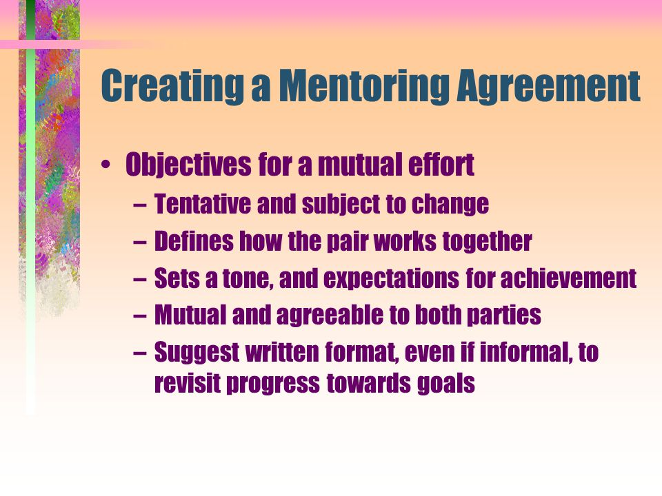 Creating a Mentoring Agreement