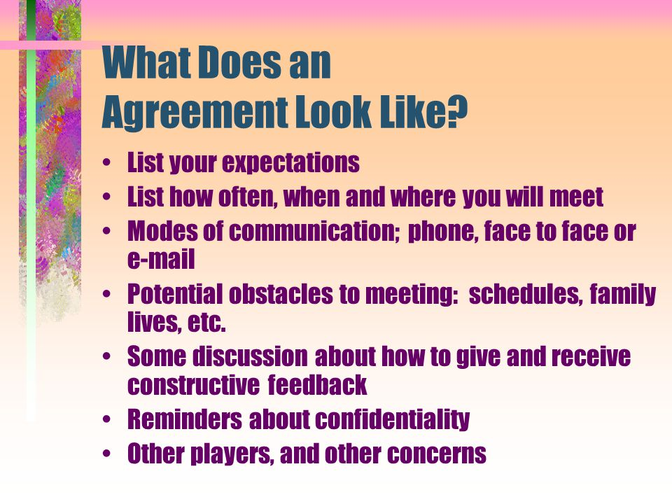 What Does an Agreement Look Like