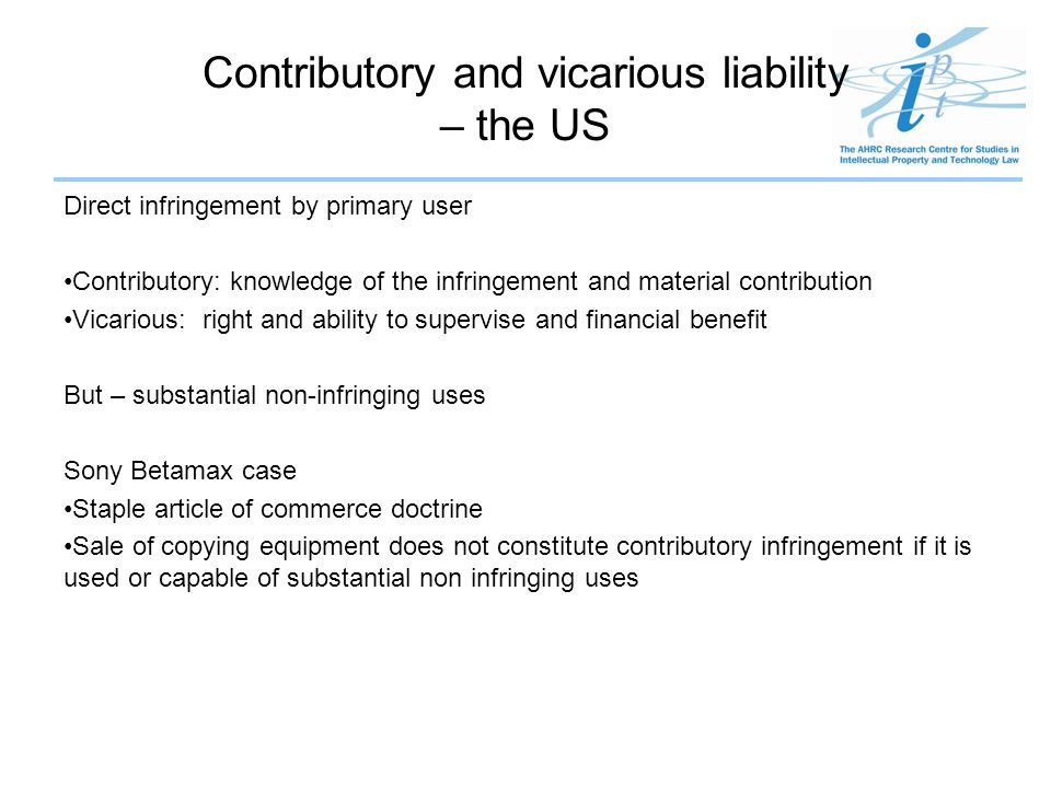 Contributory and vicarious liability – the US