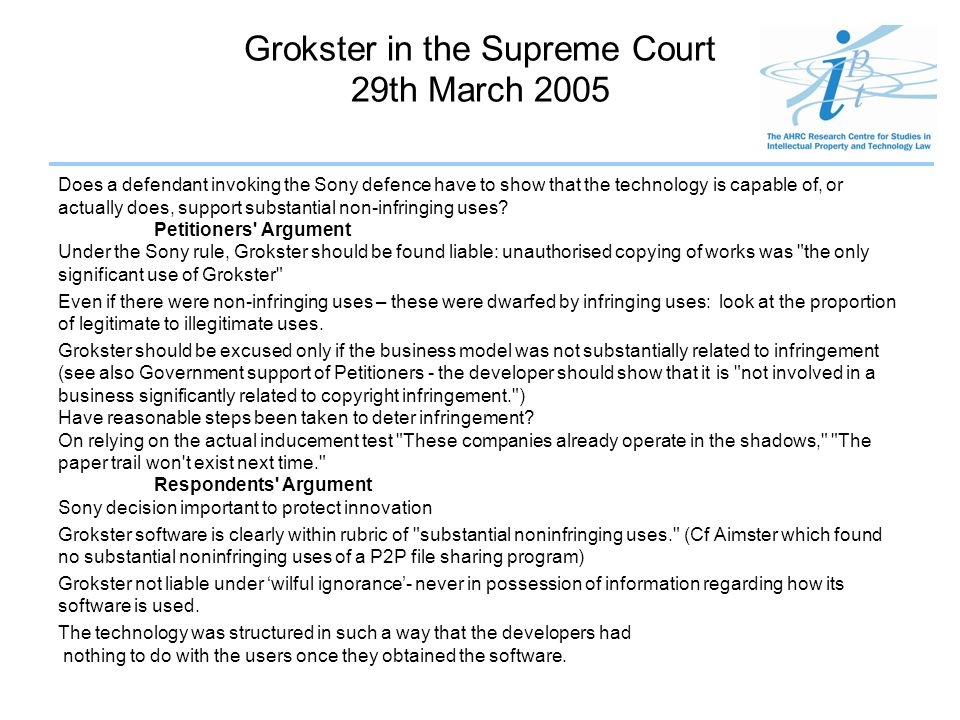 Grokster in the Supreme Court 29th March 2005