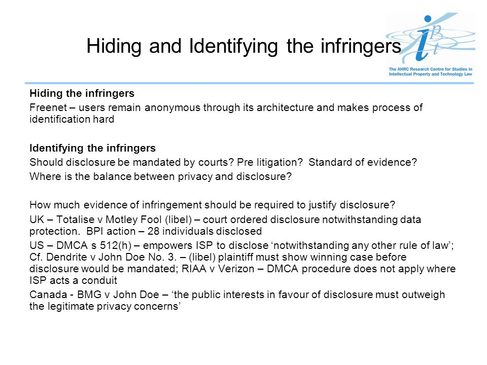 Hiding and Identifying the infringers