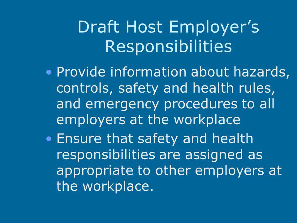 Draft Host Employer's Responsibilities