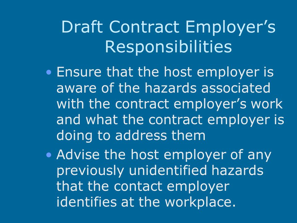 Draft Contract Employer's Responsibilities