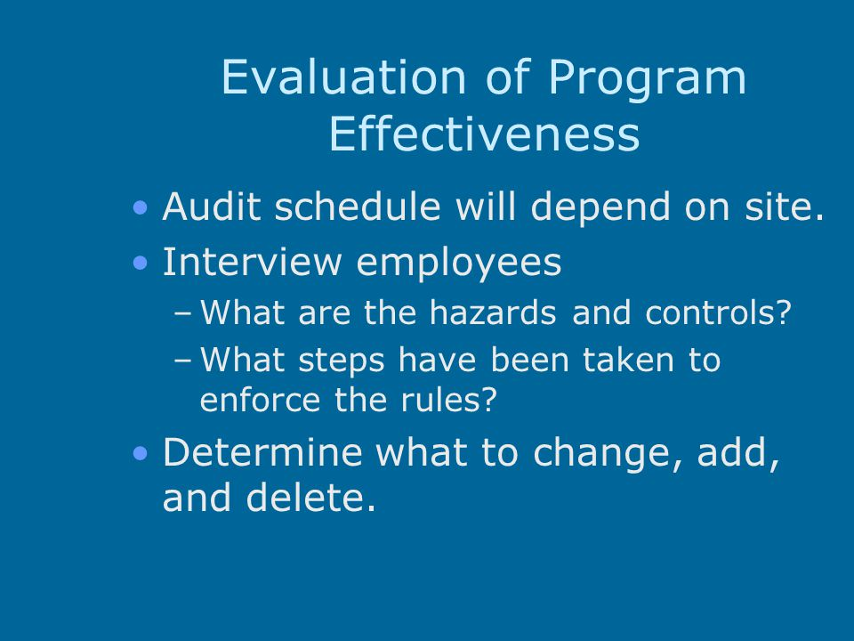 Evaluation of Program Effectiveness