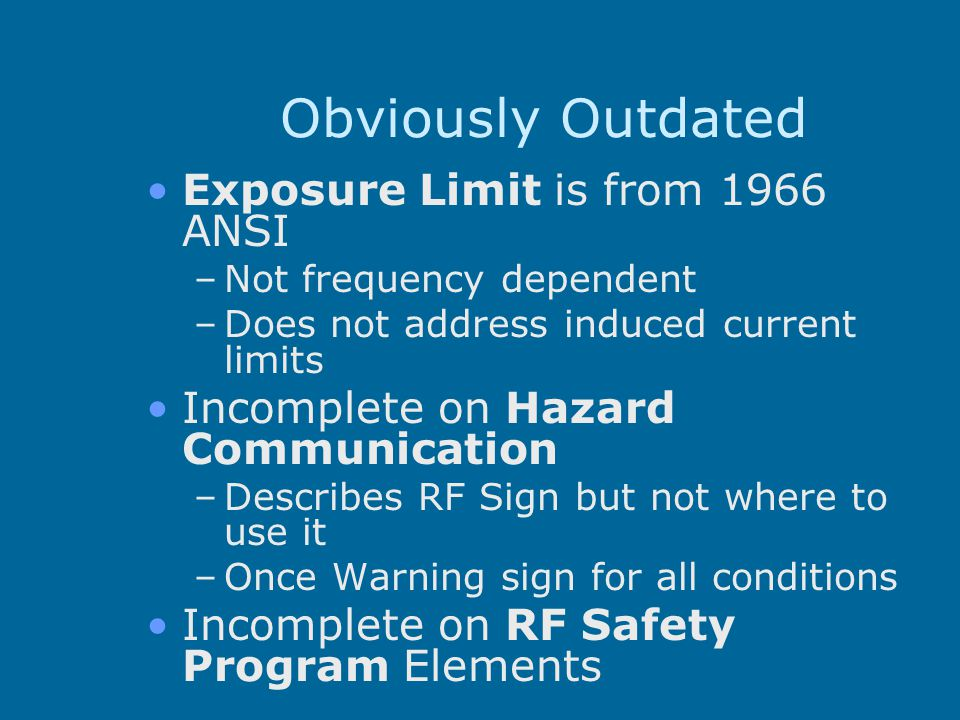 Obviously Outdated Exposure Limit is from 1966 ANSI