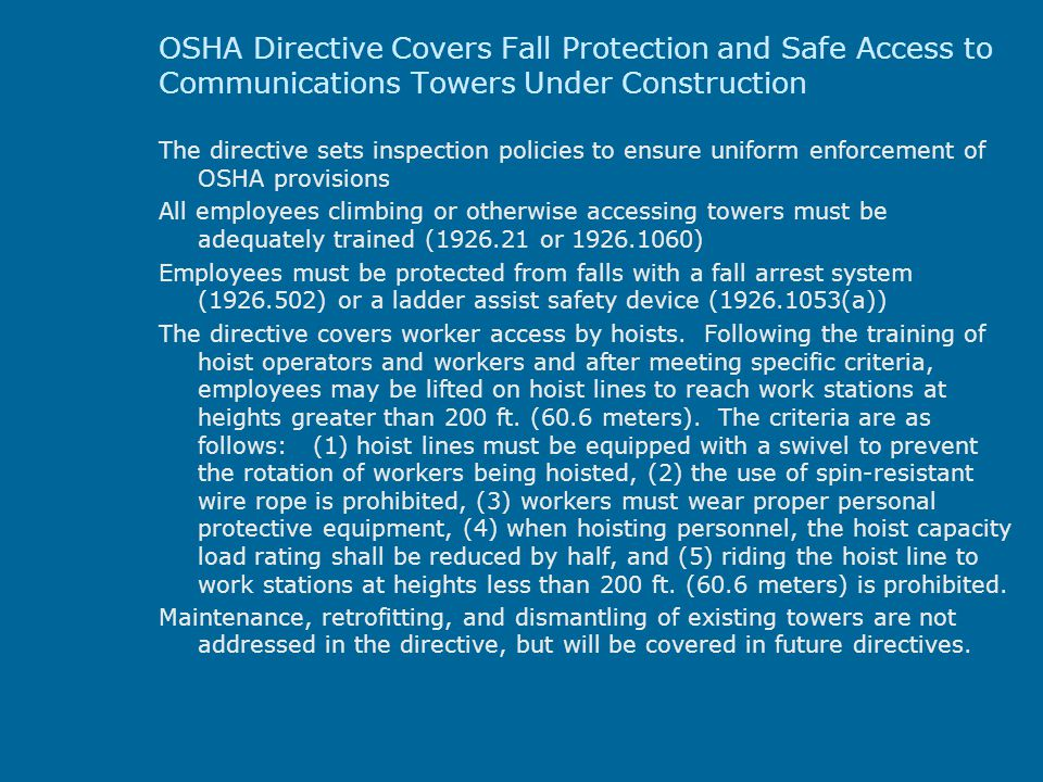 OSHA Directive Covers Fall Protection and Safe Access to Communications Towers Under Construction