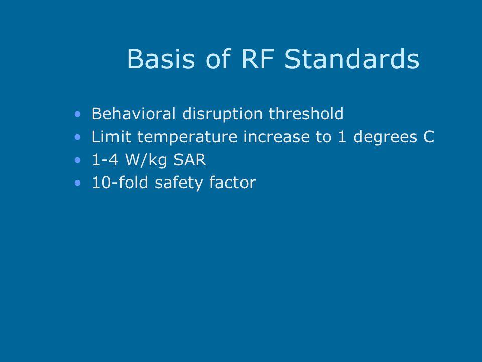 Basis of RF Standards Behavioral disruption threshold