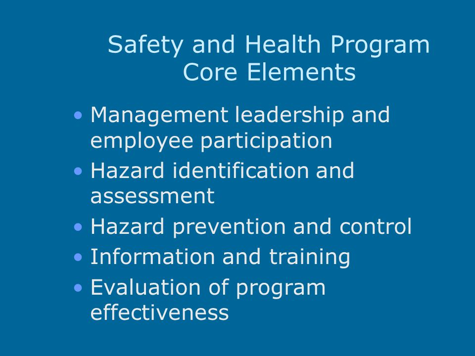 Safety and Health Program Core Elements