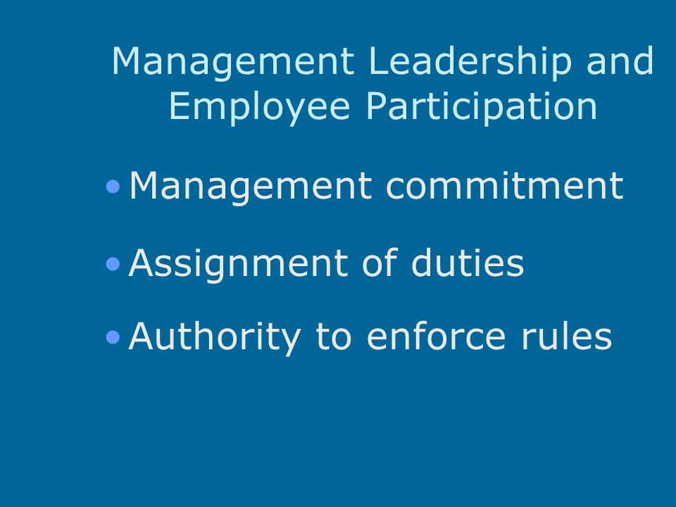 Management Leadership and Employee Participation