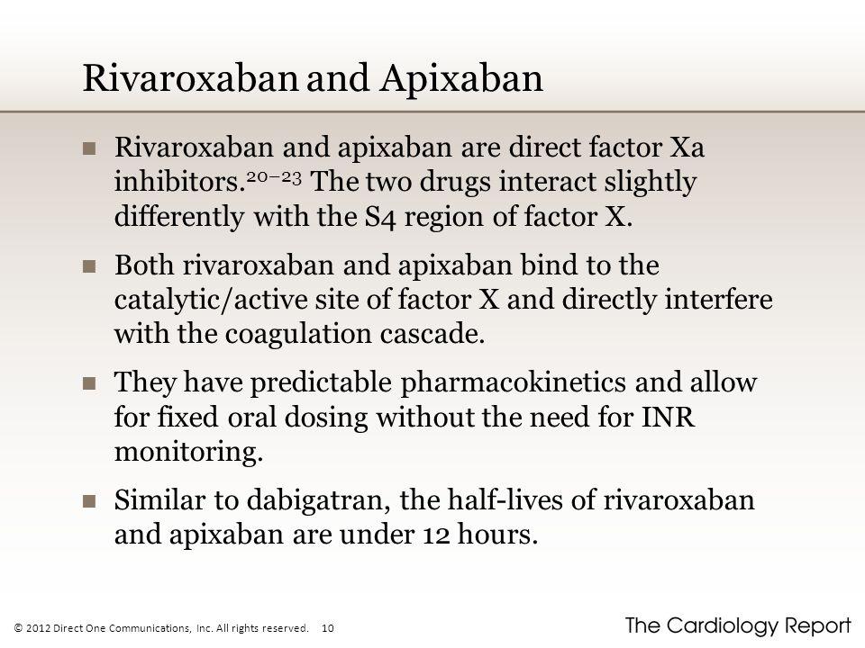 Rivaroxaban and Apixaban