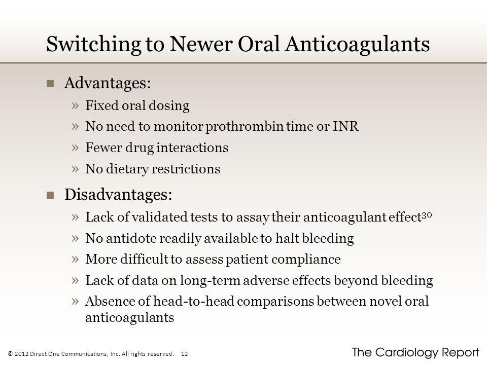 Switching to Newer Oral Anticoagulants