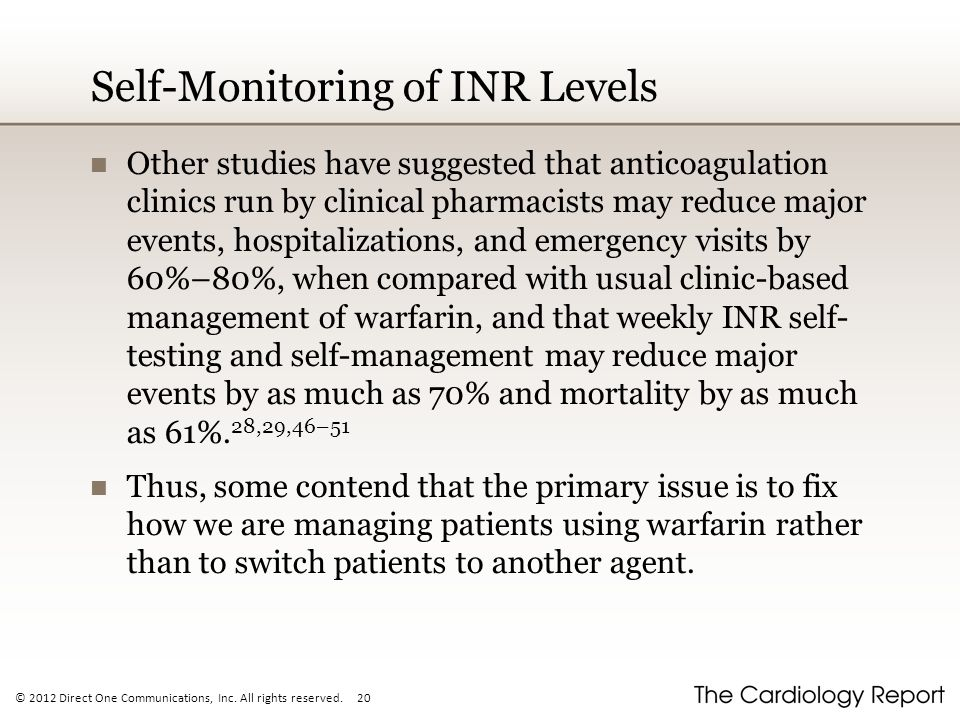 Self-Monitoring of INR Levels