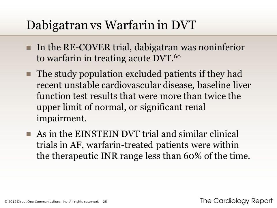 Dabigatran vs Warfarin in DVT