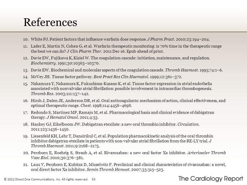 References White PJ. Patient factors that influence warfarin dose response. J Pharm Pract. 2010;23:194–204.