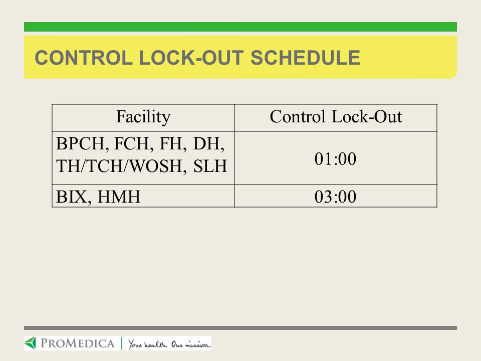Control lock-out Schedule