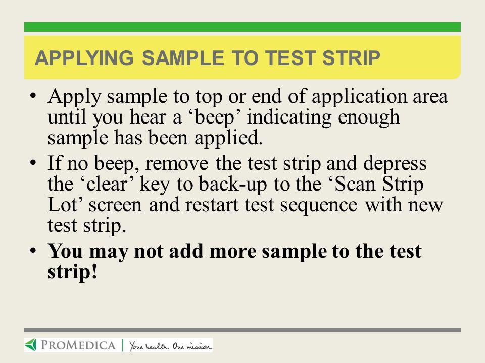 Applying sample to test strip