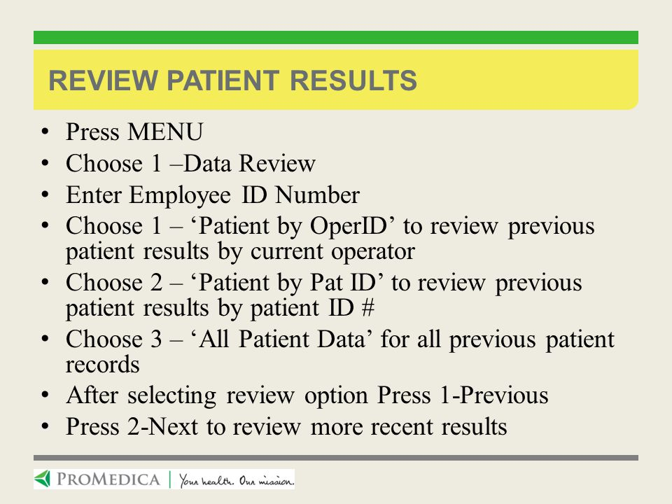 Review Patient Results