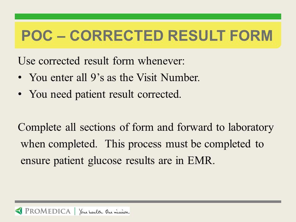 POC – Corrected Result Form