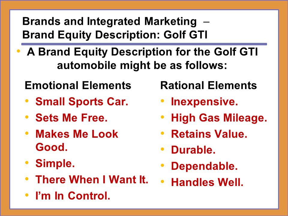 Brands and Integrated Marketing – Brand Equity Description: Golf GTI