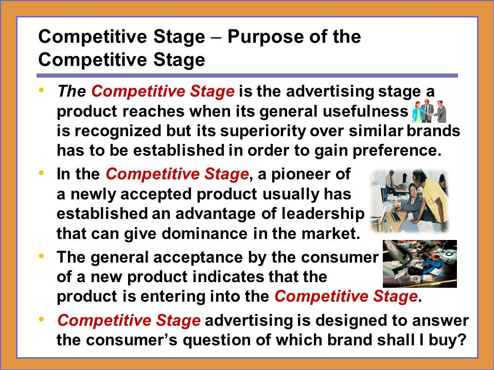 Competitive Stage – Purpose of the Competitive Stage