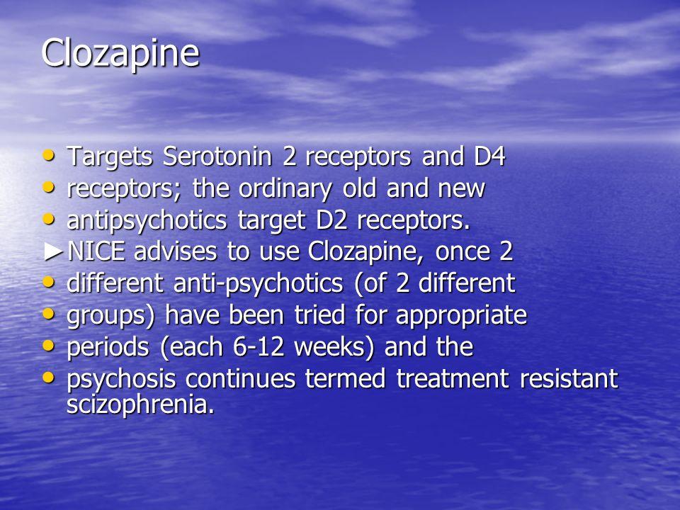 Clozapine Targets Serotonin 2 receptors and D4