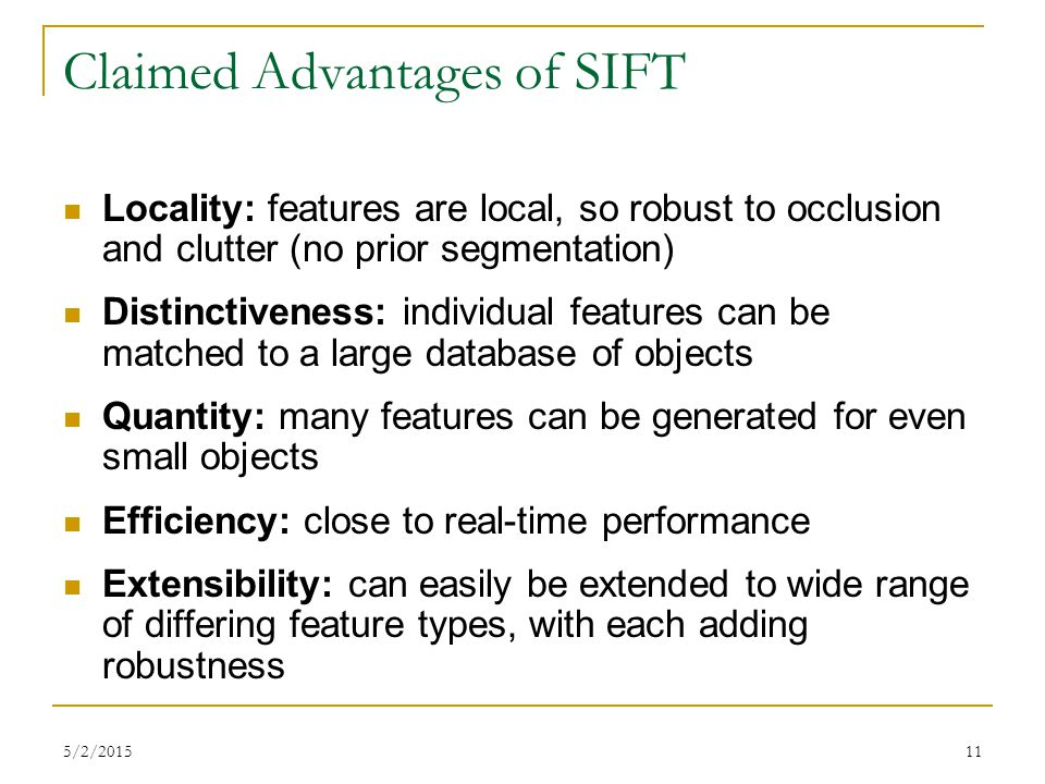 Claimed Advantages of SIFT