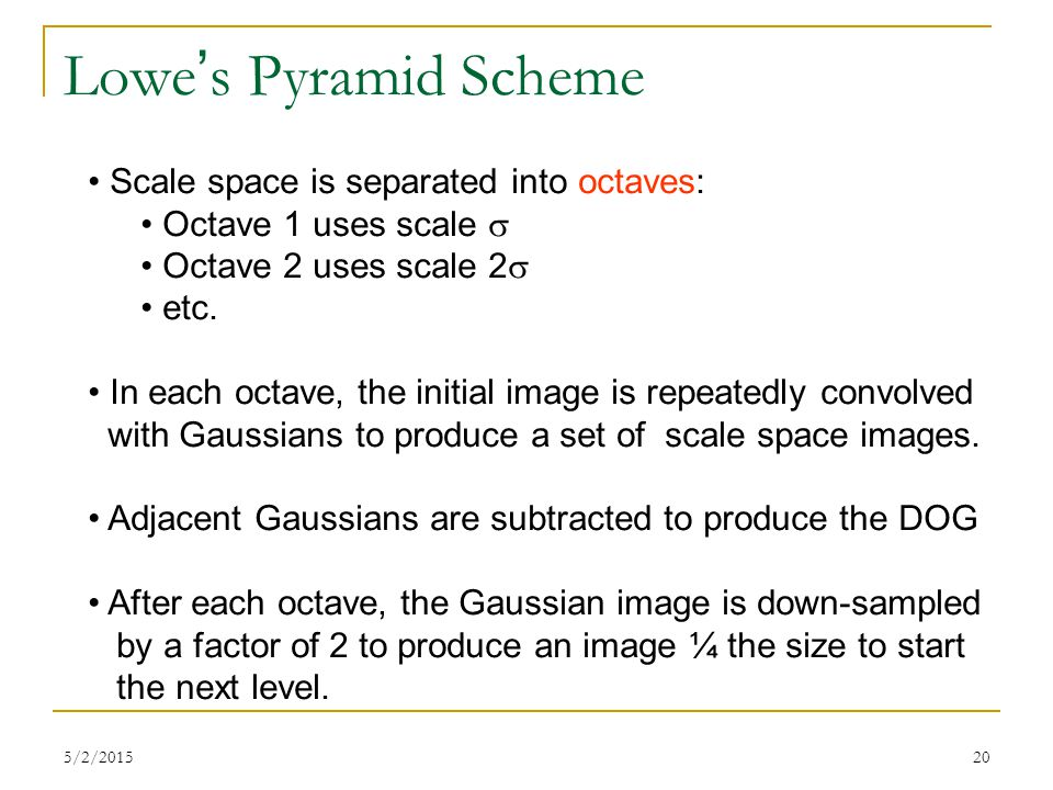 Lowe's Pyramid Scheme Scale space is separated into octaves: