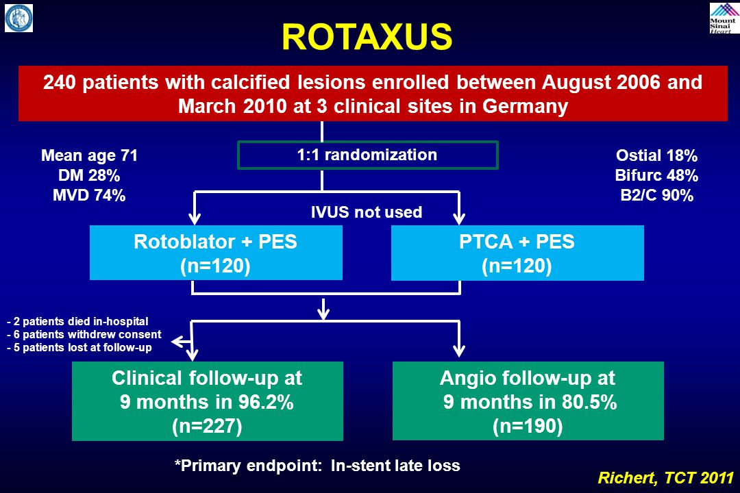 ROTAXUS 240 patients with calcified lesions enrolled between August 2006 and March 2010 at 3 clinical sites in Germany.