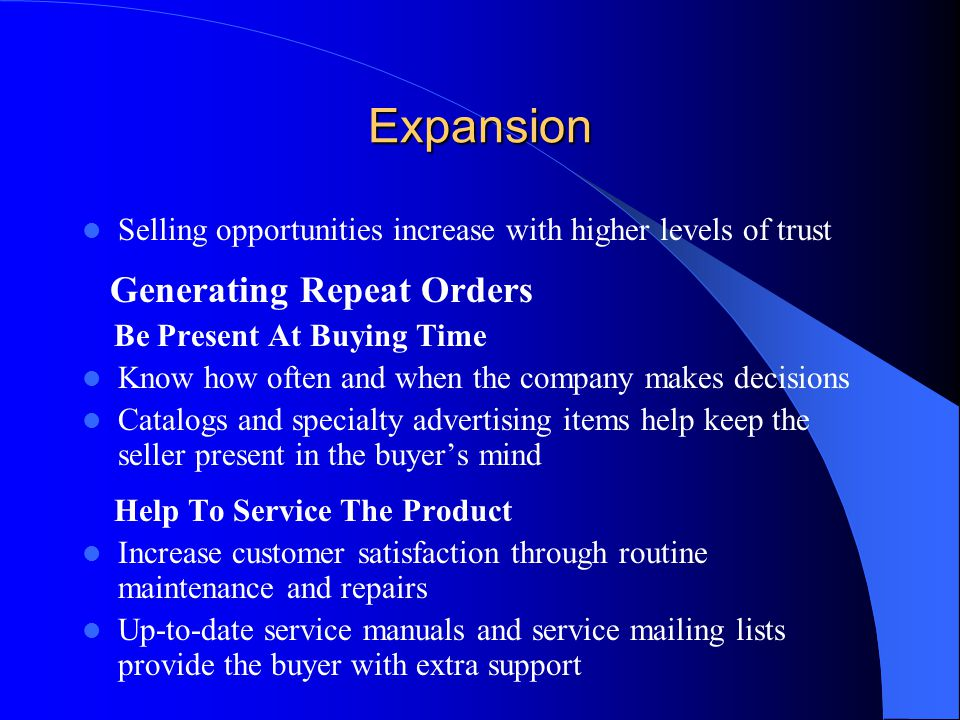 Expansion Generating Repeat Orders