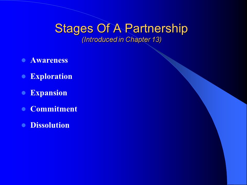 Stages Of A Partnership (Introduced in Chapter 13)