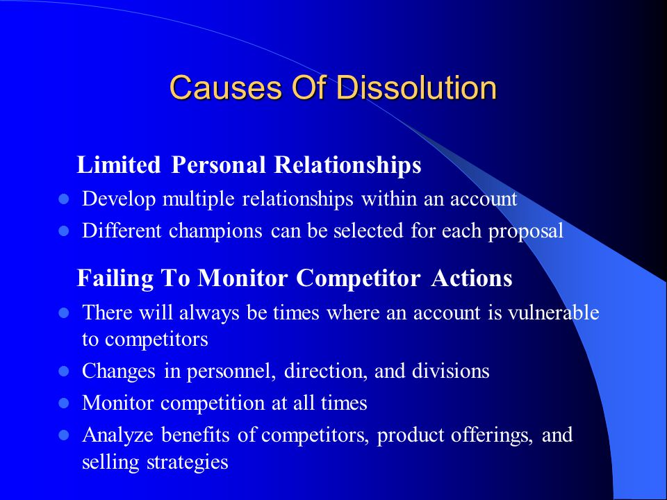 Causes Of Dissolution Limited Personal Relationships