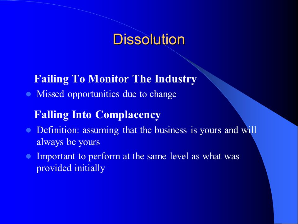 Dissolution Failing To Monitor The Industry Falling Into Complacency