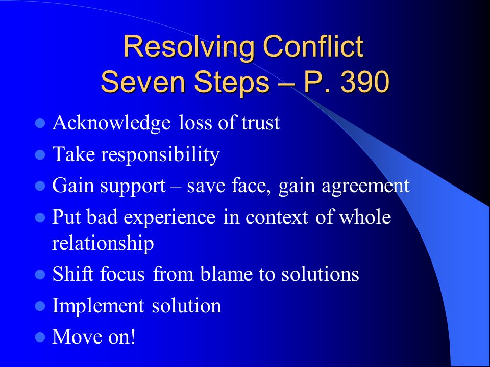 Resolving Conflict Seven Steps – P. 390