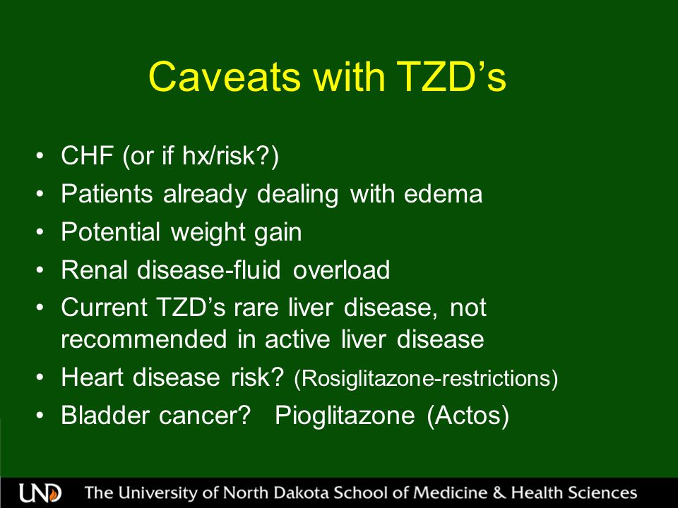 Caveats with TZD's CHF (or if hx/risk )