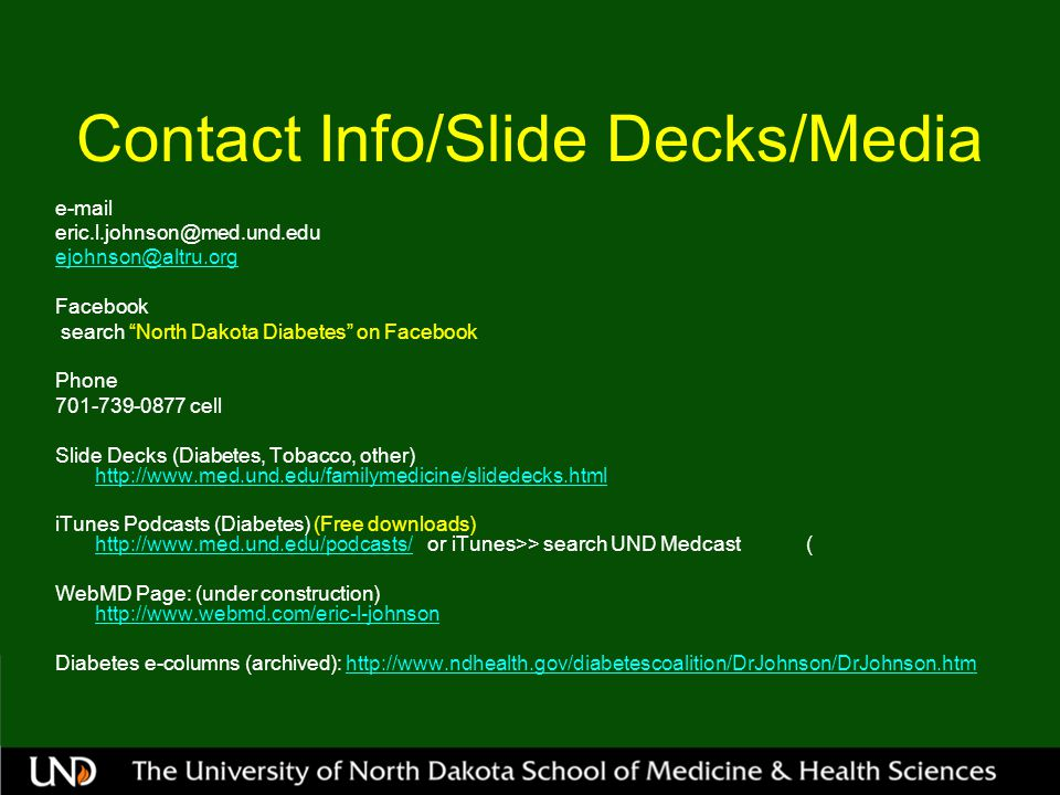 Contact Info/Slide Decks/Media
