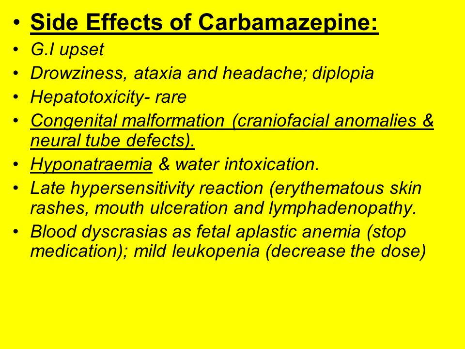 Side Effects of Carbamazepine: