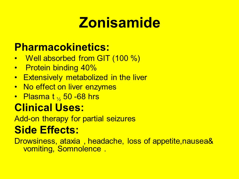 Zonisamide Pharmacokinetics: Clinical Uses: Side Effects: