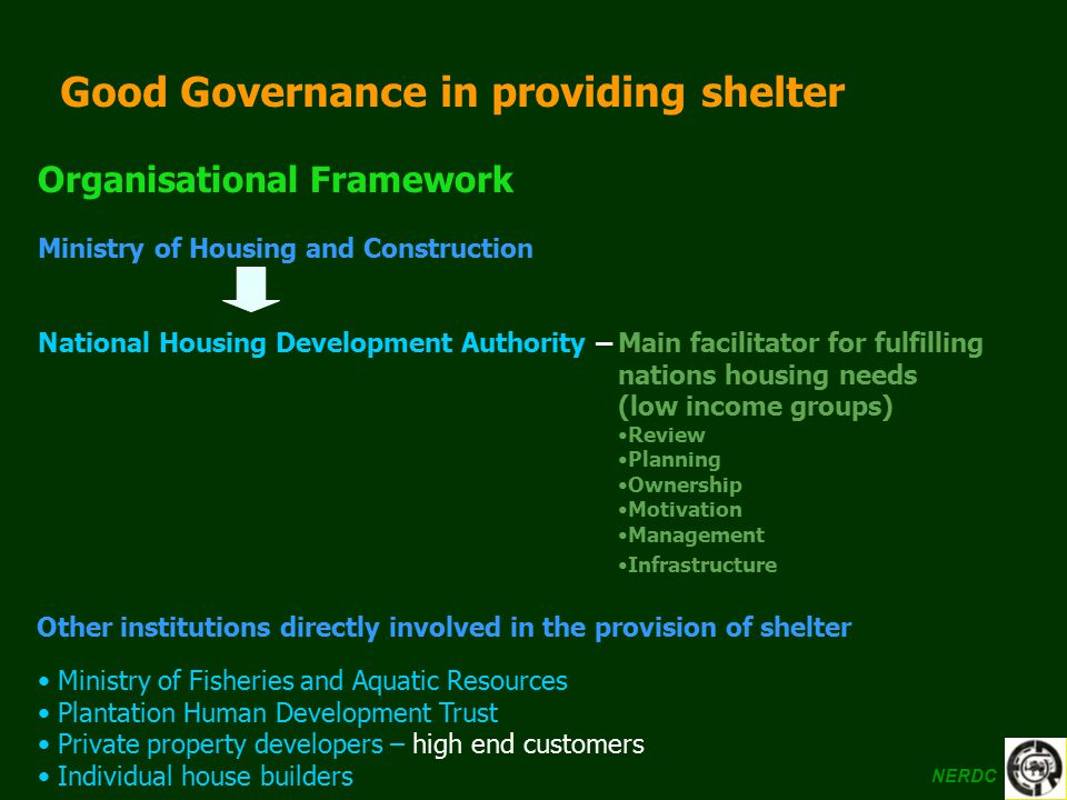 Good Governance in providing shelter