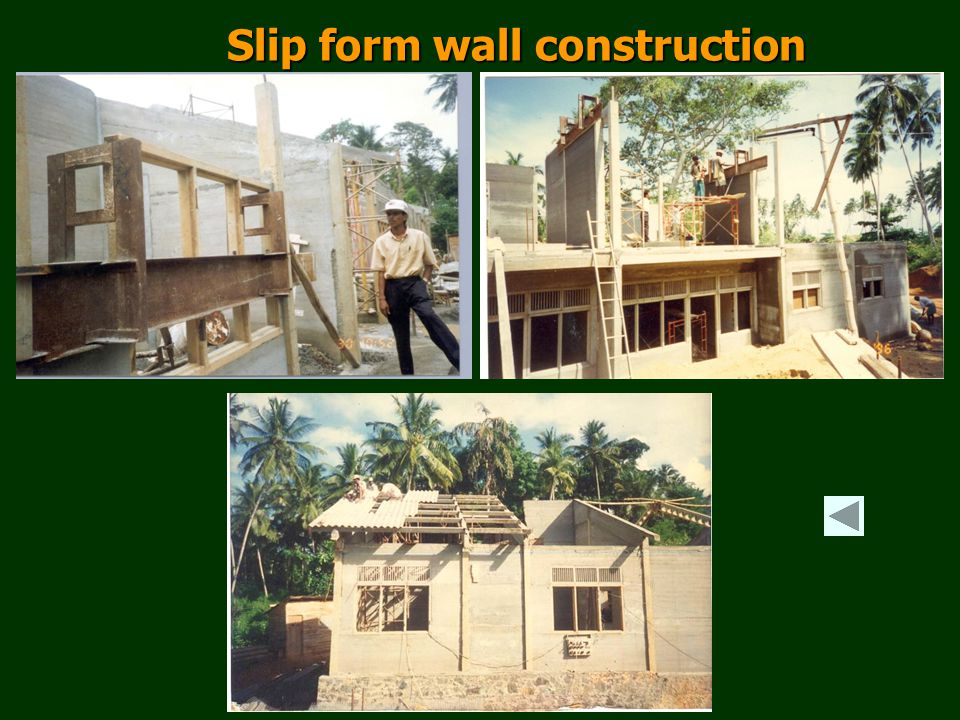 Slip form wall construction