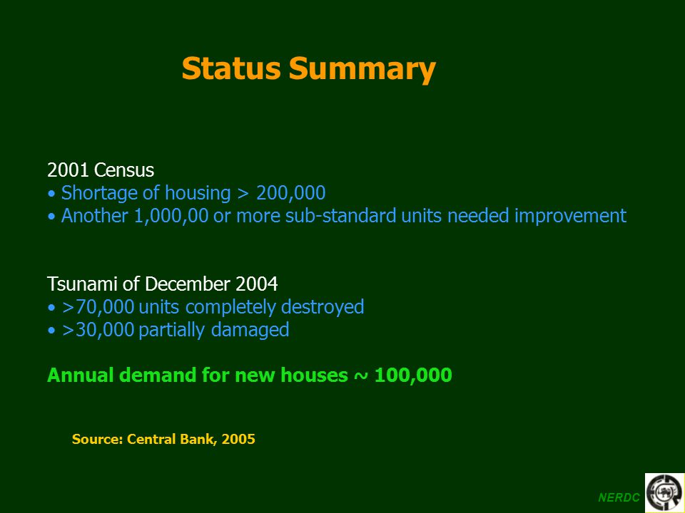 Status Summary 2001 Census Shortage of housing > 200,000